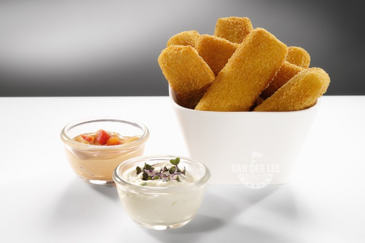 Fish fingers or fish sticks produced by Van der Lee